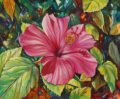 acrylic+paintings+of+hibiscus | Hibiscus Harmony Painting