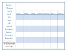 Calendar Blank Month Pages  Preschool Calendar Printable