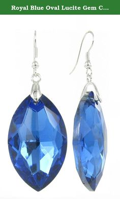 Royal Blue Oval Lucite Gem Crystal Fish Hook Earrings. Oval Lucite gem shaped earrings perfect for all occasions.