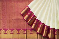 Handwoven Kanjivaram Silk Sari 1030892 - Saris / All Saris - Parisera Gold Silk Saree, Silk Saree Kanchipuram, Chanderi Silk Saree, Satin Saree, Wedding Silk Saree, Soft Silk Sarees, Sari Silk, Saree Tassels Designs, Pattu Saree Blouse Designs