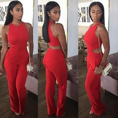 Cheap casual jumpsuit, Buy Quality fashion jumpsuit directly from China jumpsuit fashion Suppliers: Fashion summer women sexy party club o neck rompers sleeveless long baggy pants solid red bodysuit womens casual jumpsuits Monokini, Maila, Casual Jumpsuit, Red Jumpsuit, Fashion Updates, Street Style, Girls Night Out, Ladies Night, Fashion Killa