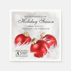 Custom Corporate Holiday Dinner Party Napkins #corporate #holiday #party #business #christmas Christmas Card Holders, Christmas Cards, Holiday Dinner, Holiday Decor, Business Holiday Cards, Party Napkins, Hand Sanitizer, Christmas Bulbs, Christmas E Cards