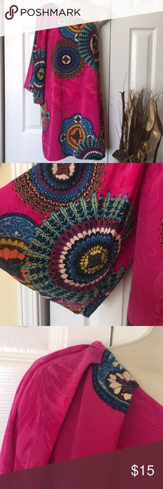 """One shoulder dress Gorgeous vibrant print and colors. Large gathers on the one shoulder. No elastic on upper hemline. Pit to pit approx 20"""". One shoulder seam to bottom hem approx 34"""" Pink Owl Dresses One Shoulder"""