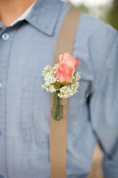 pink rose boutonniere by Victoria Ivy Floral Design