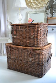 """Stacked baskets are a necessity for hiding extra """"stuff"""""""