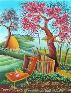 The Spring in landscape naive art oil on glass by Tihomir Ivancan