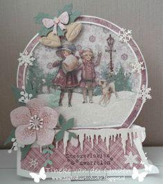 Tineke van der Linden - the Netherlands Simple Christmas Cards, Christmas Paper Crafts, Homemade Christmas Cards, Pink Christmas, Xmas Cards, Handmade Christmas, Christmas Decorations, Vintage Valentine Cards, Vintage Cards