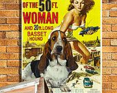 Basset Hound Vintage Movie Style Poster Canvas Print  NEW Collection