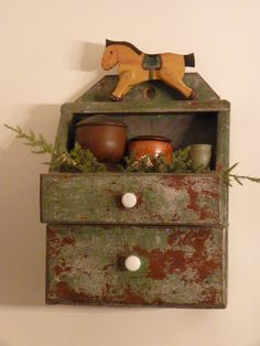 Antique wall box and treen, wooden horse, country display Primitive Shelves, Primitive Furniture, Primitive Antiques, Country Primitive, Primitive Decor, Old Wooden Boxes, Antique Boxes, Antique Decor, Rustic Ladder