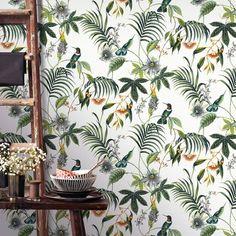 Bay Isle Home Matte Tapete Mirador m x 52 cm Designers Guild, Living Room Green, Living Room Decor, Carpet Flooring, Decoration, Wall Design, Interior Inspiration, Plant Leaves, Easy