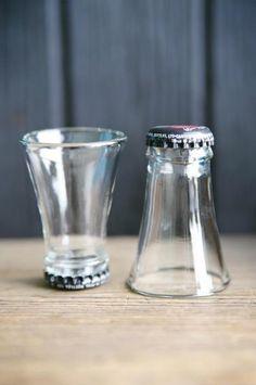 Bottles upcycled to shot glasses By signerat.se