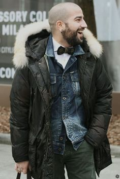 Mens Street Style layer denim beard menstyle