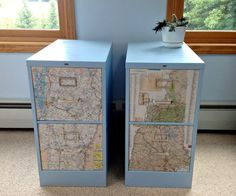 Fancy File Cabinet Decoupage Map, this would be really interesting in our office!