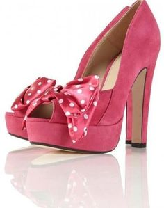 Pink High Heels | Pink High Heels with Bows! - HeelsFans.com