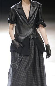 Leather jacket with distressed hem + long layered skirt; fashion details // Yohji Yamamoto Fall 2008