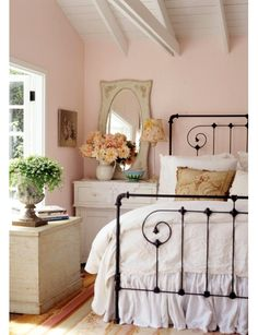 """bedroom idea - Home and Garden Design Idea's, night stand with mirror and flowers """"her side"""""""