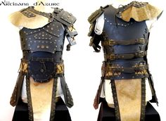 deviantART: More Like LARP Leather Armor - Phase 2 by ~Astanael. Another good design, with strengthening layers, sporran, and gold accents.