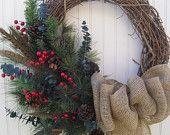 Love the grapevine wreath and burlap ribbon