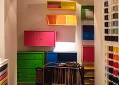 Neon colors - storage pieces by Montana.dk