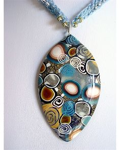 polymer clay pendant on crochet beaded neck cord