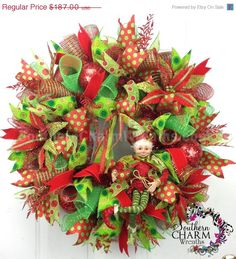 On SALE Deluxe Deco Mesh CHRISTMAS Wreath for Wall Red Lime Green Raz Elf Whimsical Funky