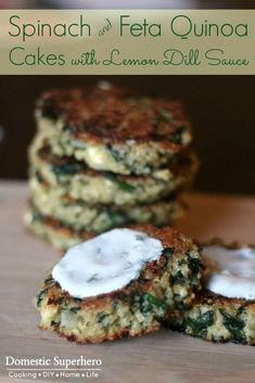 Spinach and Feta Quinoa Cakes with Lemon Dill Sauce are the perfect healthy easy. - Spinach and Feta Quinoa Cakes with Lemon Dill Sauce are the perfect healthy easy meal! Veggie Recipes, Vegetarian Recipes, Cooking Recipes, Healthy Recipes, Dill Recipes, Spinach Recipes, Dinner Recipes, Bariatric Recipes, Recipes With Dill Sauce