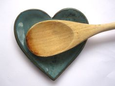 Heart Soap Dish Spoon Rest in Blue by ShoeHouseStudio on Etsy, $8.00