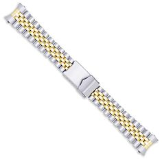 Jubilee Style Solid Link Metal Watch Band - Two Tone - 20mm *** Check out the image by visiting the link.