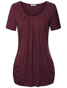 New Trending Blouses and Shirts: Timeson Summer Women's Short Sleeve Pleated Front Knit Tunic Shirt (XXX-Large, Wine). Special Offer: $24.98 amazon.com Comfort is key at Timeson and to ensure you experience the best there is, we have refined the dozens of measurements it takes to make each garment just right for you. Our Women Knit Shirt are carefully constructed to be flattering, easy to wear and to give...