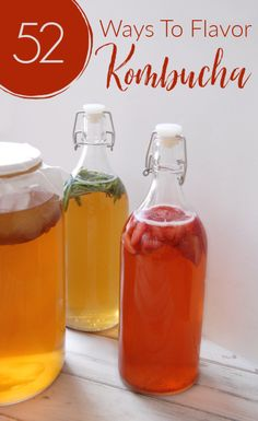 Need more ways to flavor your kombucha? Here are 52 ways to flavor your kombucha. that's one a week for an entire year! You'll never get bored! Blueberry Kombucha, Kombucha Bottles, Kombucha Scoby, Kombucha Fermentation, Kombucha Brewing, Yummy Drinks, Health
