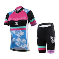 Womens Floral Bicycle Cycling Jersey Shirt With 3D Padded Shorts L    Click  image to 1ab34efd8