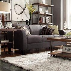 Tribecca Home Clove Dark Grey Linen Contemporary Sofa | Overstock.com Shopping - Great Deals on Tribecca Home Sofas & Loveseats