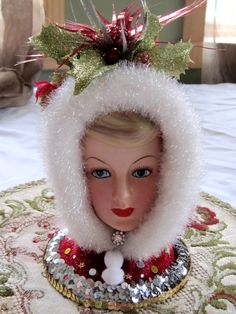 LARGE Jeweled Vintage Enesco Lady Headvase Lady Head Vase Christmas 1950s Headvase. $85.00, via Etsy.