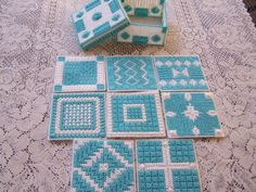 Multi-Stitch Coasters with Matching Box Plastic Canvas Turquoise 1420