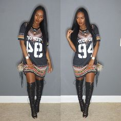 Printed T-shirt dress and laced up thigh high boots @glamtwinkels1