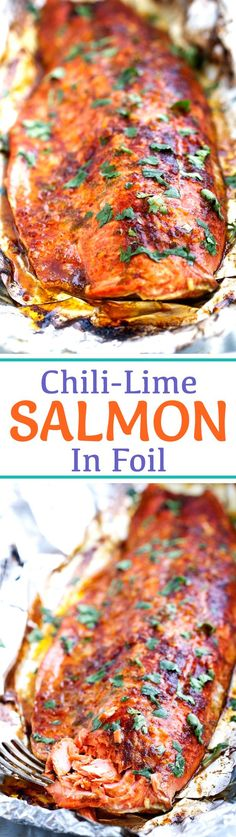 Chili-Lime Baked Salmon in Foil - This recipe takes less than 30 minutes and is perfect for weeknight dinners! #bakedsalmon #salmoninfoil #30minutemeals #bakedfish | Littlespicejar.com