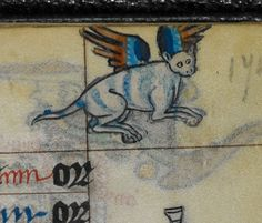 winged cross-eyed kitteh book of hours ('The Maastricht Hours'), Liège 14th century. British Library, Stowe 17, fol. 147r