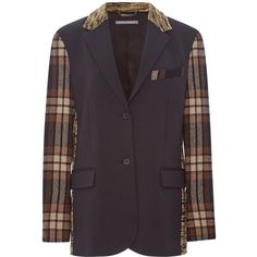 Alberta Ferretti Tartan Plaid Combo Blazer (22.045.335 IDR) ❤ liked on Polyvore featuring outerwear, jackets, blazers, tartan jacket, plaid blazer, long blazer jacket, long jacket and brown jacket
