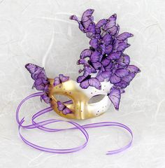 It's Baaa-aack! Georgeous Purple & Pink Butterfly Masquerade Mask - Midsummer Fairy, MardiGras, Cosplay, Bridal Mask or for Halloween. C'mon, you know you want it!