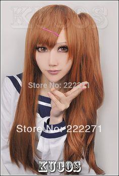Free Track Anime Chuunibyou Demo koi ga Shitai Nibutani Shinka Mixed Brown Cosplay Wig Ponytail Costume Heat Resistant + Cap