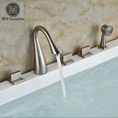 Brushed Nickel 3 Square Handles Bathtub Faucet Deck Mount Tub Shower Mixer Tap with Handshower 5 Holes #Affiliate