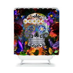 Shower Curtain  Sugar Skull Butterflies Roses  by FolkandFunky