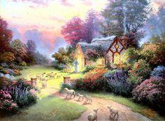The Good Shepherds Cottage. Thomas Kinkade