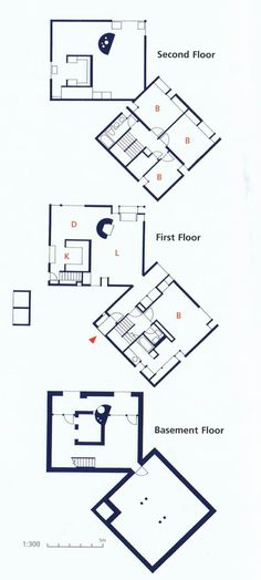 Plan.  Fisher House. Hatboro, Pennsylvania, 1967. Louis Kahn.