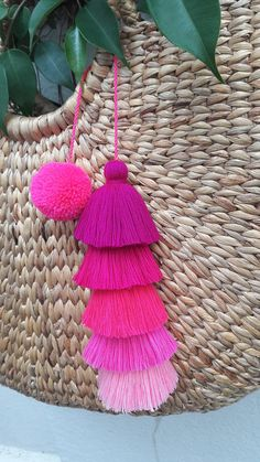 Colorful bag charm /Hanging wall decor made of hand crafted pom poms and tassels. Available in 5 pink colors ♥ Hand made item ♥ L inches W 3 inches Diy Crafts How To Make, Craft Stick Crafts, Preschool Crafts, Pom Pom Crafts, Yarn Crafts, Fabric Crafts, Diy Tassel, Tassels, Pom Pom Garland