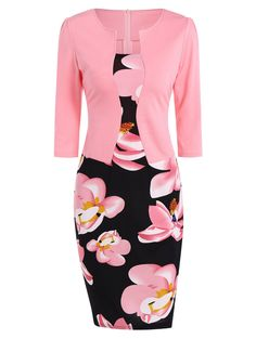 Flower Print Jacket Look Pencil Dress in Pink | Sammydress.com