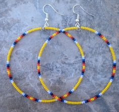 "Native American Style 2.5"" Yellow & Multicolor Beaded Hoop Earrings"