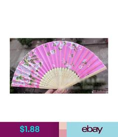 Other Chinese Handmade Bamboo Folding Hand Summer Fan Wedding Party Gift With Flowers #ebay #Fashion