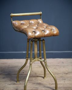 Brass and leather music stool, Antique Chairs & Armchairs, Drew Pritchard