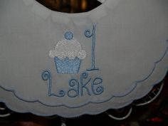Baby Boy's  Double Scalloped Cotton Heriloom Bib trimmed in blue Cupcake Fo Hisr First Birthday by Zadabug on Etsy